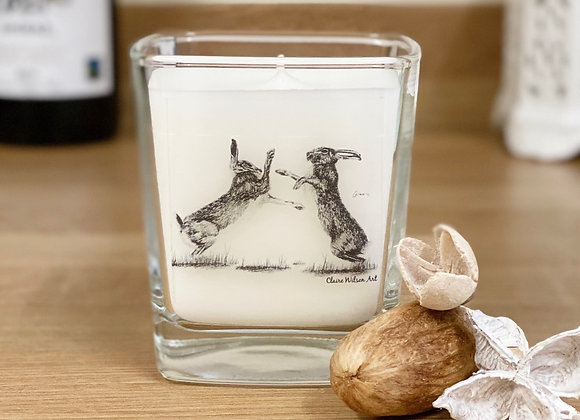 'HARE WE GO AGAIN' SQUARE CANDLE JAR IN AMBER & FRESH JASMINE