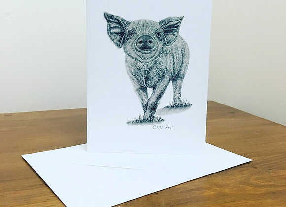 'HEY LITTLE PIGGY' BLANK GREETINGS CARDS