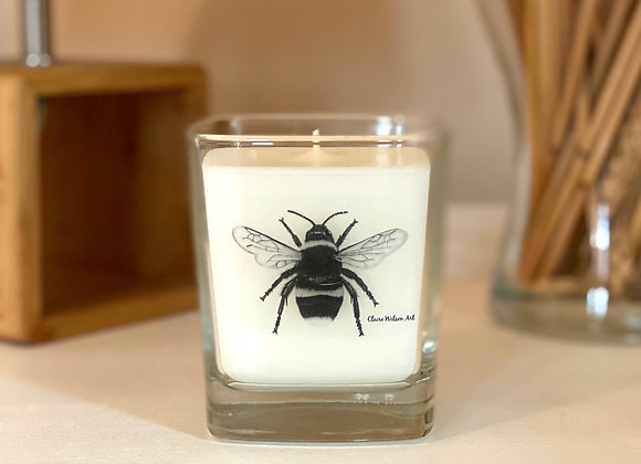 'THE BEES KNEES' SQUARE CANDLE JAR IN SANDALWOOD & ORANGE BLOSSOM