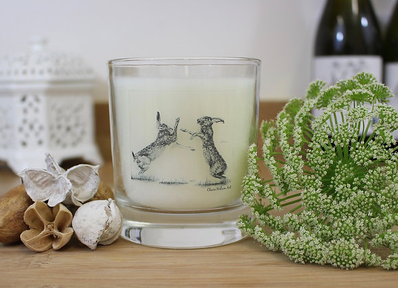 'HARE WE GO AGAIN' ROUND CANDLE JAR IN CHAMPAGNE MIST