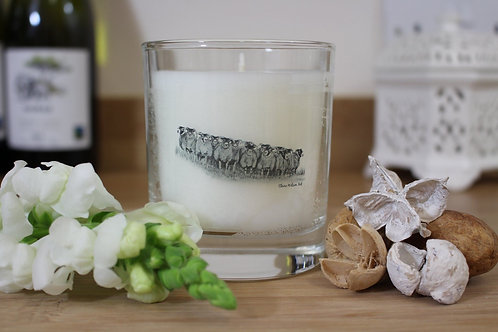 'THE GATHERING' ROUND CANDLE JAR IN CHAMPAGNE MIST