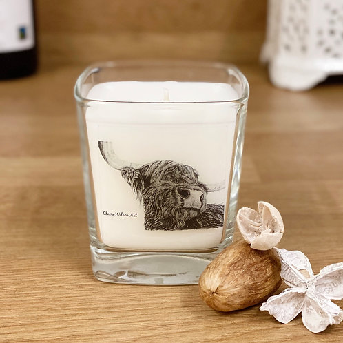'SNOOTY COO' SQUARE CANDLE JAR IN AMBER & FRESH JASMINE