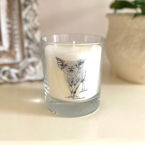 'HEY LITTLE PIGGY' ROUND CANDLE JAR IN ANGEL WISHES