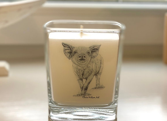 'HEY LITTLE PIGGY' SQUARE CANDLE JAR IN AMBER & FRESH JASMINE