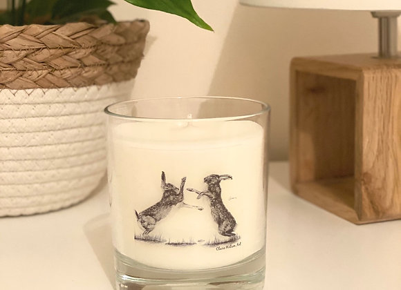 'HARE WE GO AGAIN' ROUND CANDLE JAR IN BLACK OUD