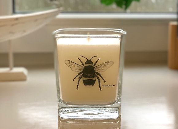 'THE BEES KNEES' SQUARE CANDLE JAR IN AMBER & FRESH JASMINE