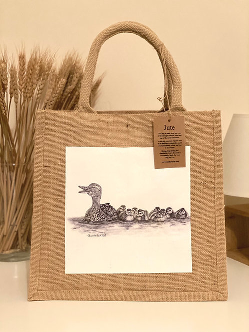 'JUST KEEP SWIMMING' MIDI JUTE BAG