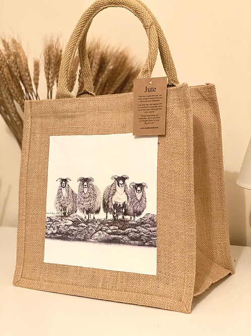 'SCOTCH ON THE ROCKS' MIDI JUTE BAG