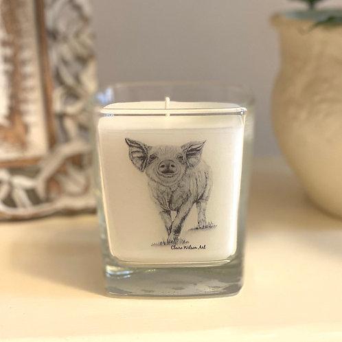 'HEY LITTLE PIGGY' SQUARE CANDLE JAR IN HONEYED PEACH & LEMON