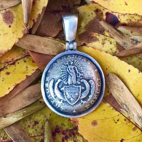 Sterling Silver Confederate ARKANSAS State Seal Button Civil War Relic Pendant