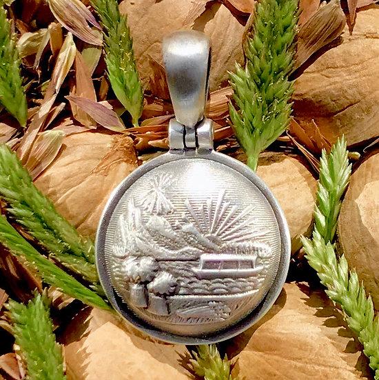 Sterling Silver Union OHIO Great Seal Button Civil War Relic Pendant