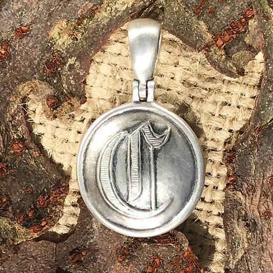 """Sterling Silver Confederate Script """"C"""" Cavalry Button /Civil War Relic Pendant"""