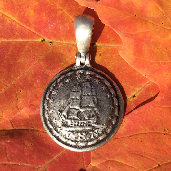 "Sterling Silver Confederate Navy""man-of-war"" Ship Button Civil War Relic Pendant"