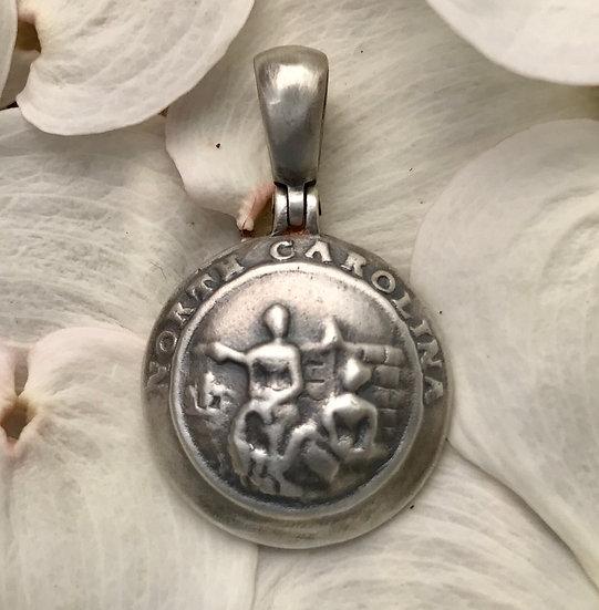 Sterling Silver Confederate NORTH CAROLINA Button (NC8) Civil War Relic Pendant