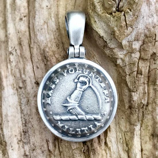 .925 Silver Union MASSACHUSETTS State Arm & Sword Button Civil War Relic Pendant