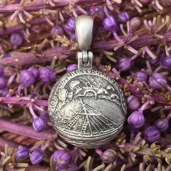 Sterling Silver Confederate TENNESSEE State Seal Button  Civil War Relic Pendant