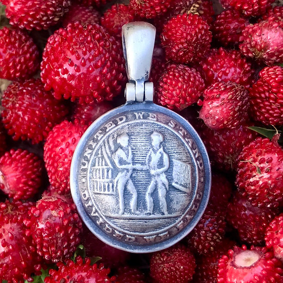 Sterling Silver KENTUCKY Border-State Confederate Button Civil War Relic Pendant