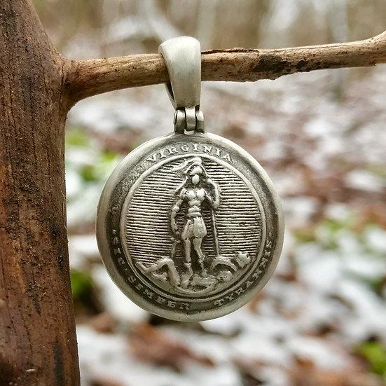 Sterling Silver Confederate Local VIRGINIA (VA23) Button Civil War Relic Pendant