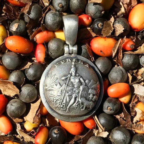 .925 Silver Union CALIFORNIA State Coat Of Arms Button Civil War Relic Pendant