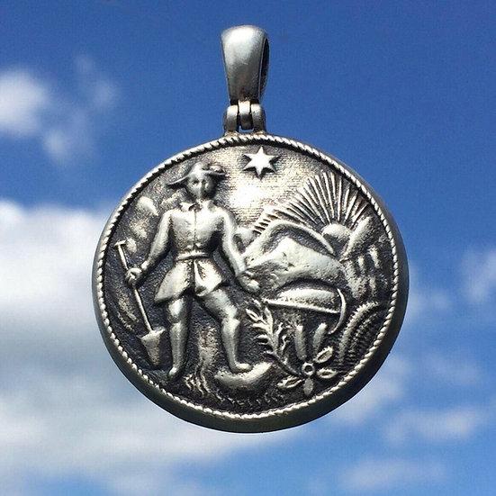 Sterling Silver, Gold Rush Prospector Relic Pendant