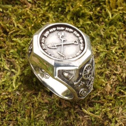 Sterling Silver Men's Metal Detector  / Treasure Hunting Ring Confederate Buckle
