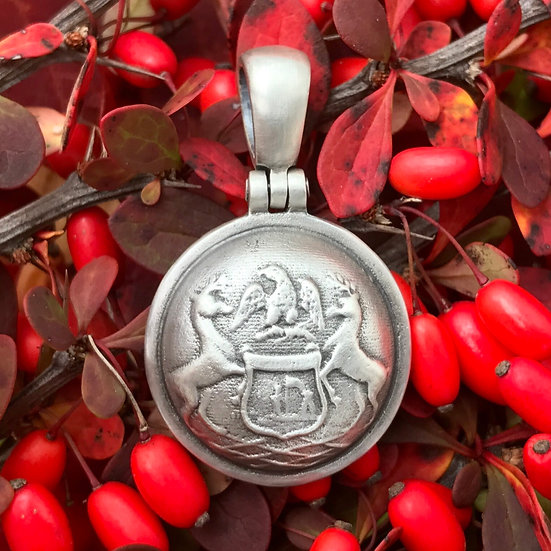 Sterling Silver Union MICHIGAN State Coat Of Arms Button Civil War Relic Pendant
