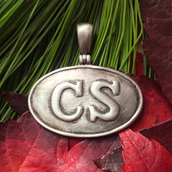 "Sterling Silver Oval Confederate ""CS"" Belt Plate Buckle /Civil War Relic Pendant"
