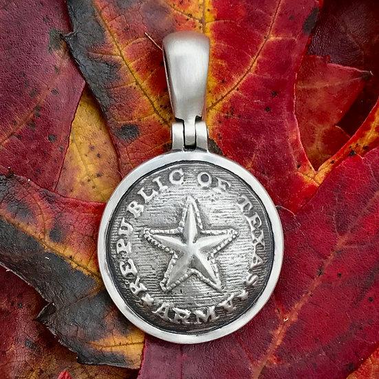 "Sterling Silver ""REPUBLIC OF TEXAS / ARMY"" Button (TX5) Civil War Relic Pendant"