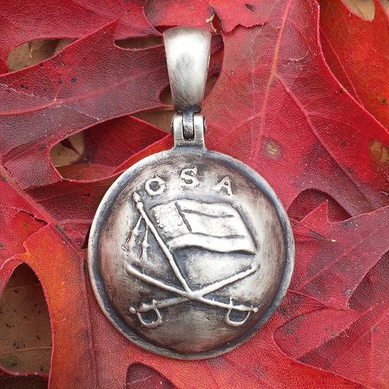 Sterling Silver Confederate JEB Stuart Cavalry Button /Civil War Relic Pendant