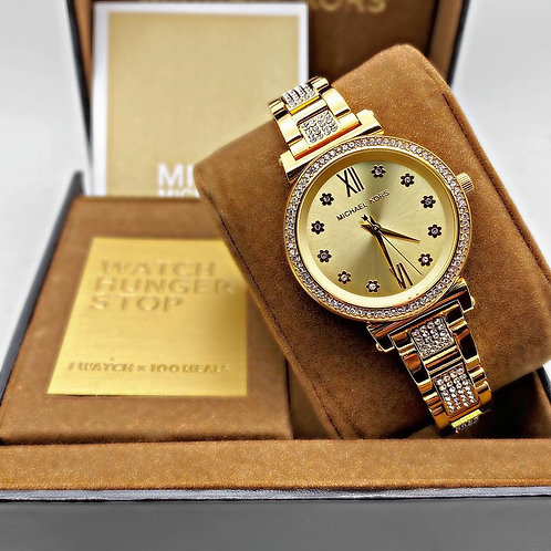 Women's -MK3881-fashionable 36mm face, decorated with a gleaming stone set bezel