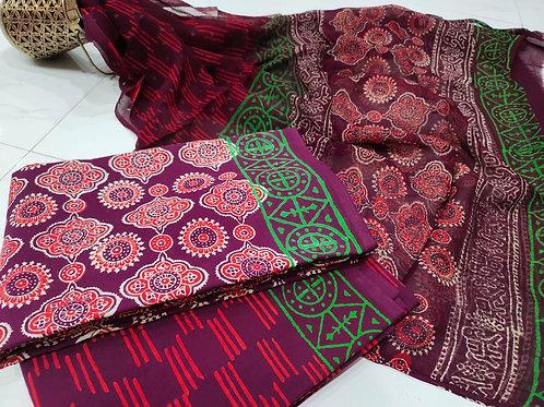 Printed Cotton Suit set with chiffon Dupatta