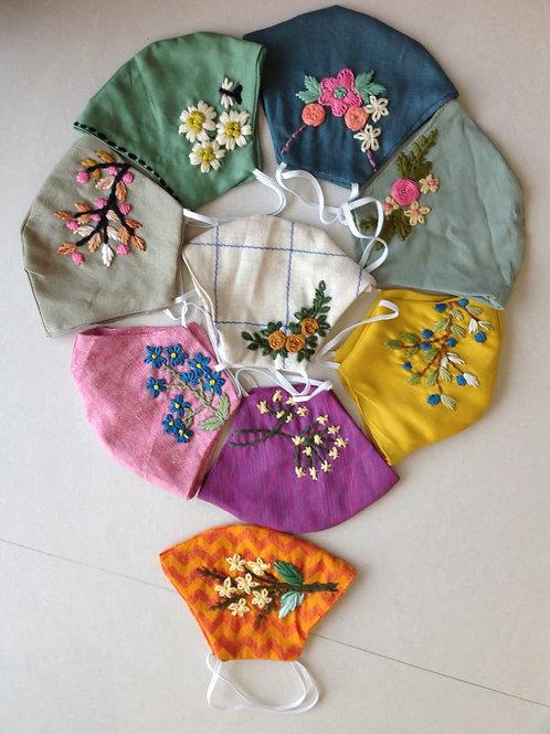 Designer hand embroideried khadi cotton 2 layer mask (Washable)