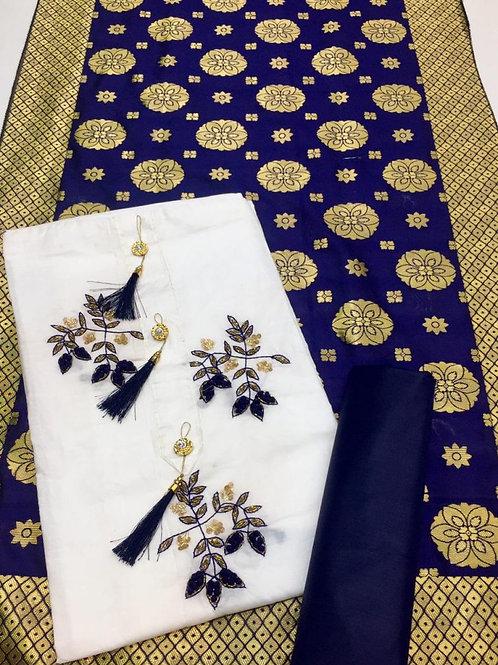 Glace cotton suit with banarsi dupatta