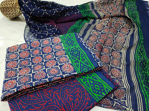 Printed Cotton Suit set with chiffon Dupatta