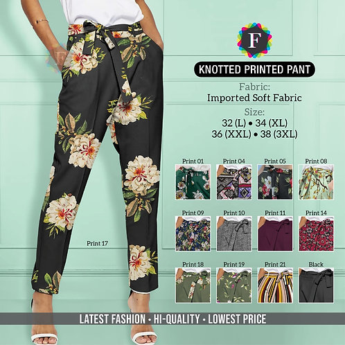 Knotted Printed Pant