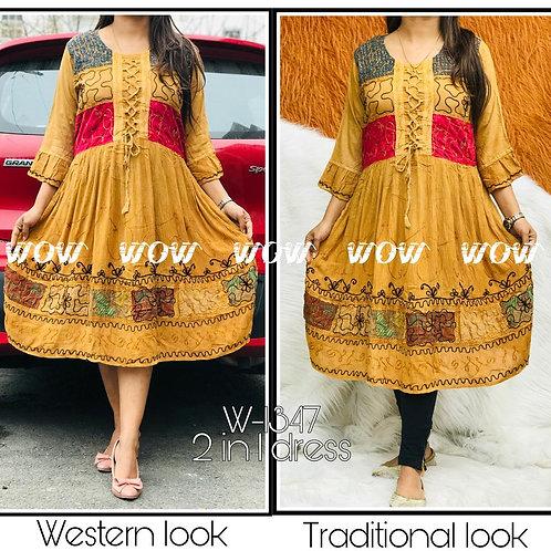 Wow-Mid length Elegant Kashmiri wear kurti cum dress