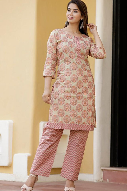 Cotton kurta Plazo set