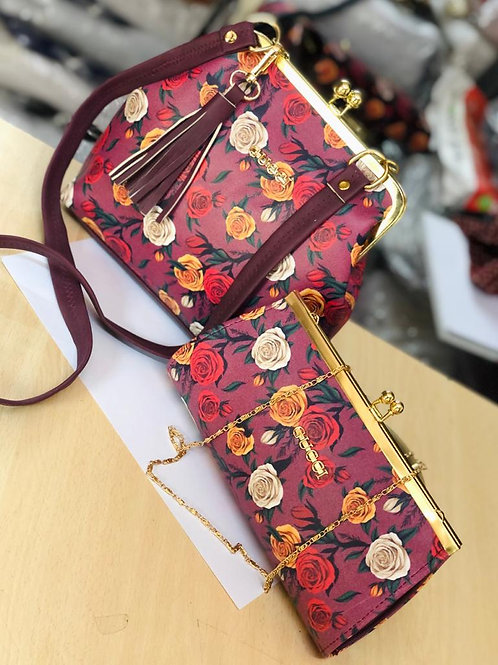 Gucci Flower 🌹 printed Women's Hand bag & Sling with wallet