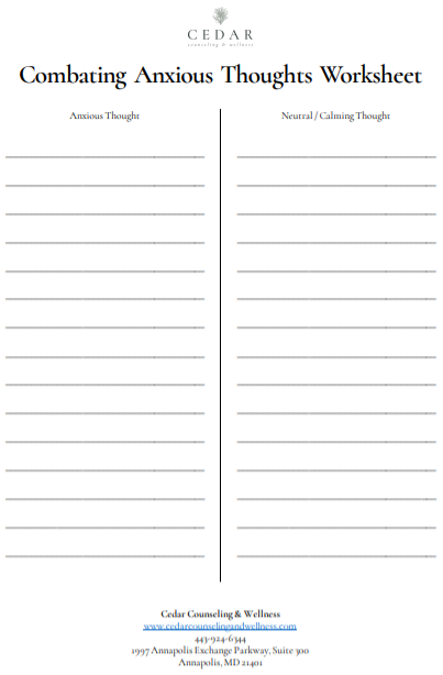 Anxious thoughts worksheet