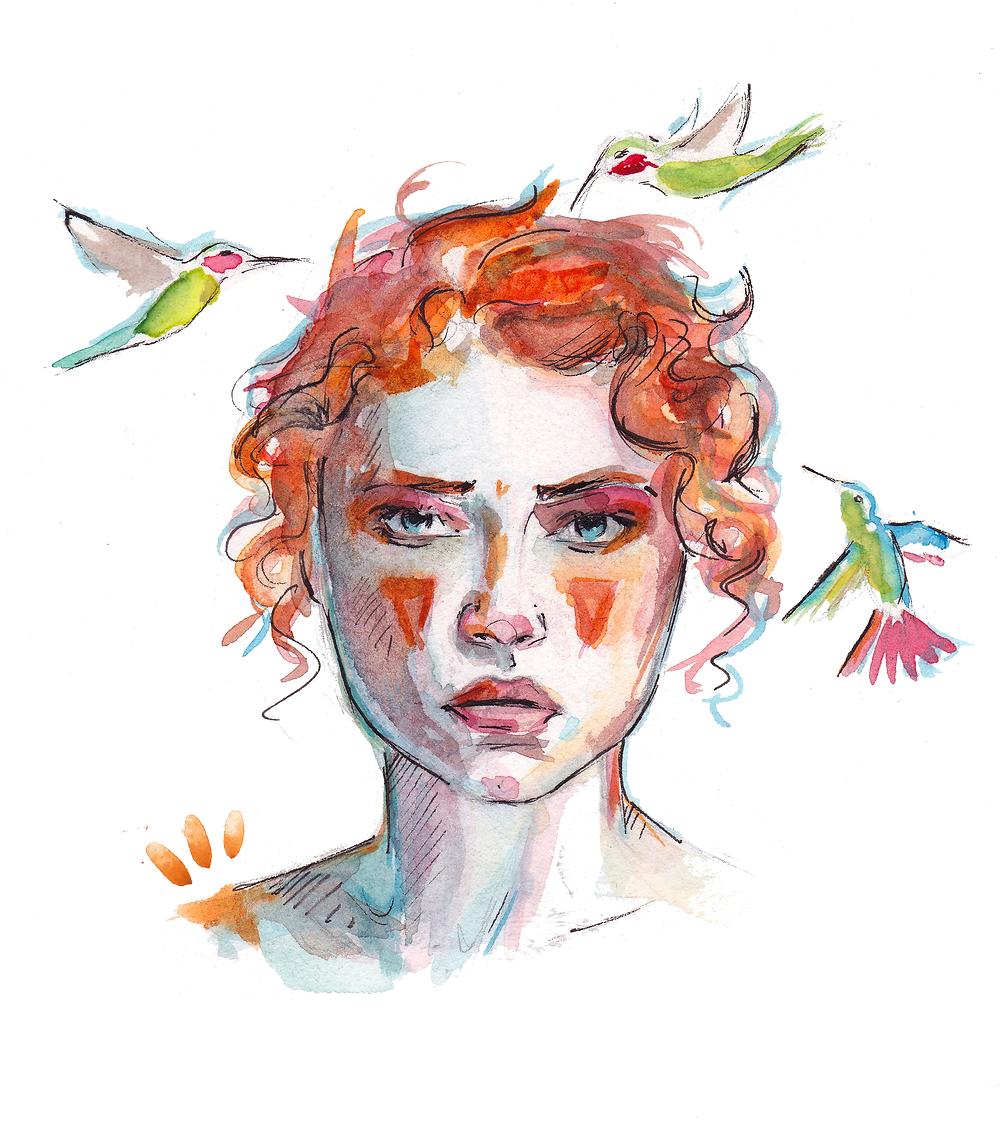 Ilustración de SASTRAKA para el libro de relatos Hambre de Pájaro, de Carolina Corvillo