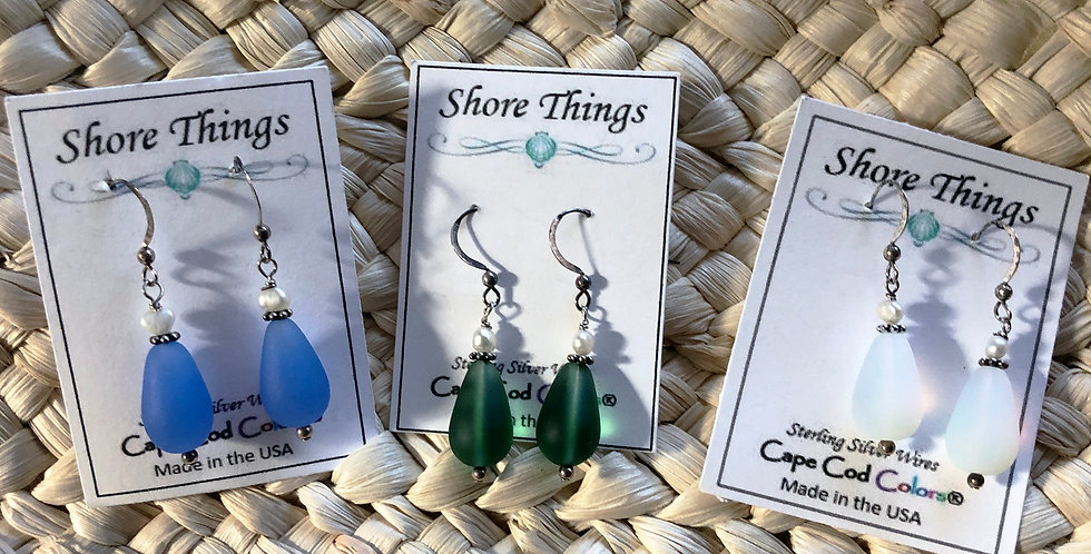Seaglass and Pearl Drop Earrings
