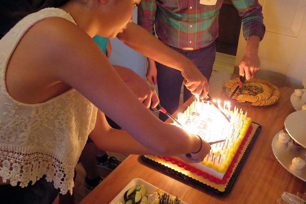 lighting 154 birthday candles