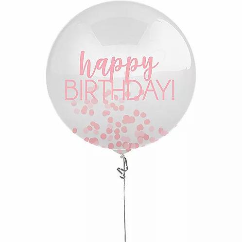 24 inch Birthday Latex with confetti-pink