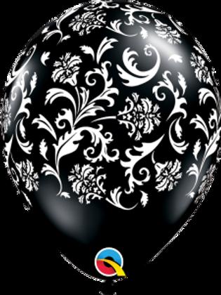 11 in Black/White Scroll Print balloon
