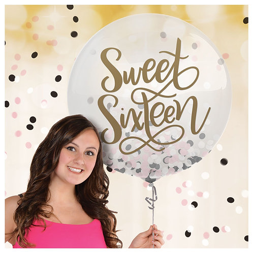 24 inch Sweet Sixteen Confetti balloon filled with helium
