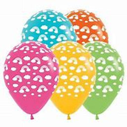 5 Rainbow printed 11 inch balloons filled with helium