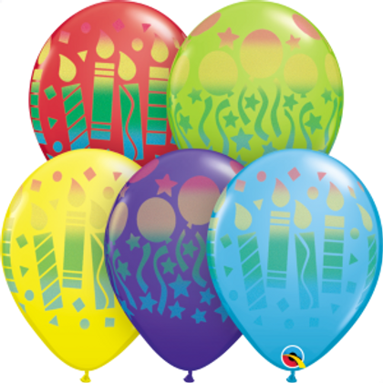 5 Party fun assorted print balloons filled with helium