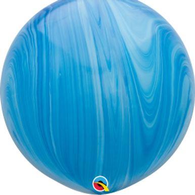 36 inch Blue Agate Swirl Latex balloon with helium