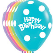 5 HBday Polka printed 11 inch balloons filled with helium