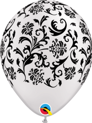 11 in White/Black Scroll Print balloon